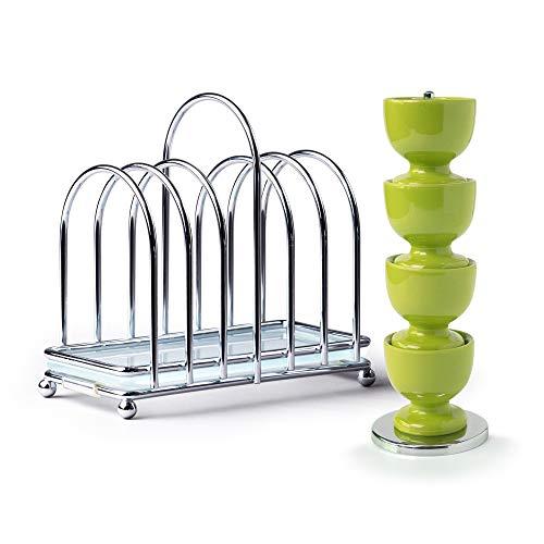 Zeal BASET9L Frühstücksset Set aus 4 Eierbechern aus Melamin auf Ständer mit Chrom und Glas, 6-teiliges Toastständer