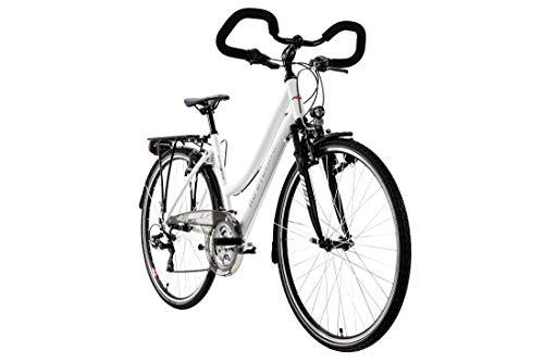 KS Cycling Canterburry Vélo pour Femme 28'' Canterbury en Aluminium Mat 48 cm avec Guidon Multiposition Blanc 48 cm