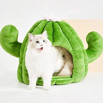 Maisons et dômes YCDJCS Pet Cat Nest Cactus Small Dog Bed Cave Teddy Sleeping Hideout Canapé Peluche Coussin Mat Pet Supplies avec Pad Lavable (Color : Green, Size : 45x45cm)