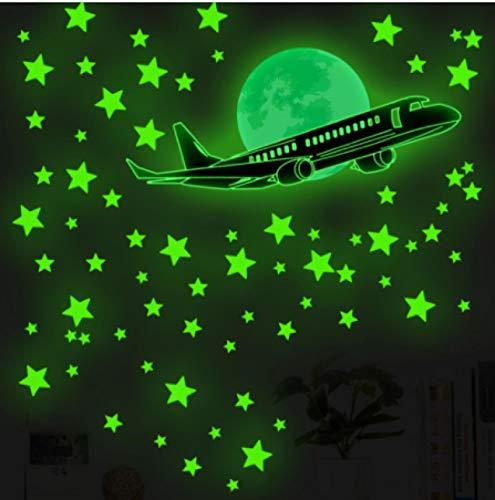 vinilos de pared decorativos Avión estrella Luna pegatinas luminosas de pared dormitorio sala de estar habitación de los niños calcomanías de decoración del hogar pegatinas de combinación luminosa