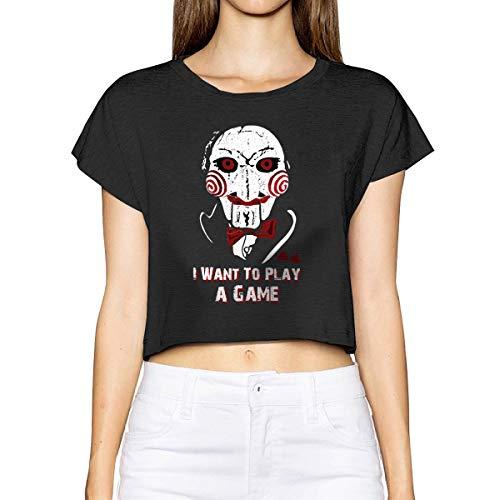 Vdaras Vrouwen Ik wil een spel Halloween Horror Movie Crop Top korte mouw T Shirts spelen