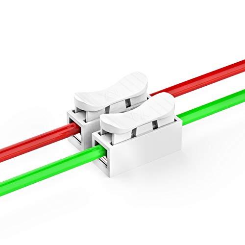 100 Stück Schnelle Kabel zum Verbinden Verbindungsklemmen, 2-pin Schnellverbinder Kabel Lüsterklemme, CH-2 Drahtklemmen Lüsterklemmen für Beleuchtung, Energie und Fahrzeugverkabelung Verbindung