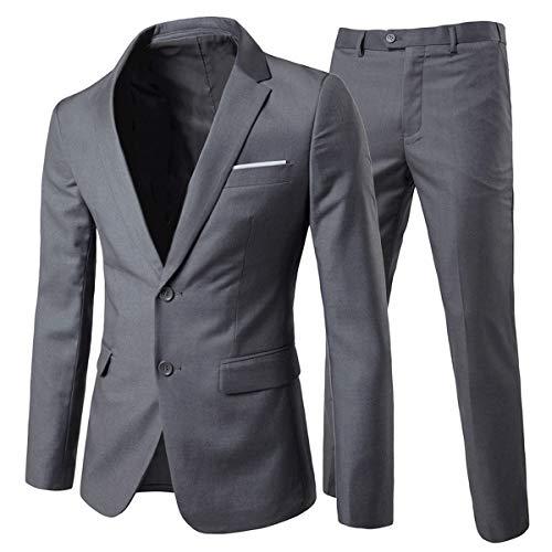 Allthemen Trajes para hombre 2 piezas Slim Fit vestido de novia traje de dos botones traje de negocios chaqueta casual chaquetas pantalones
