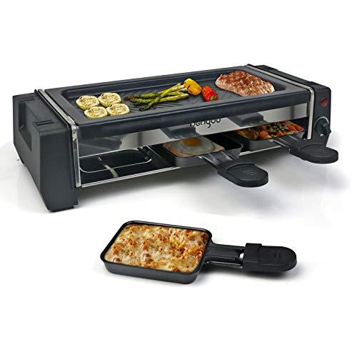 HengBo Grill per Raclette 2 Persone con una Padella Antiaderente per la Griglia e 3 Mini Padelle, Temperatura Regolabile, 700W, Acciaio Inossidabile, Nero