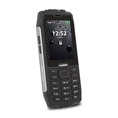 HAMMER 4 Outdoor Cellulare senza contratto, display a colori da 2,8', robusto, Mega batteria 2000 mAh, impermeabile (IP68), resistente agli urti, tasti, cellulare, torcia, Dual SIM, colore argento