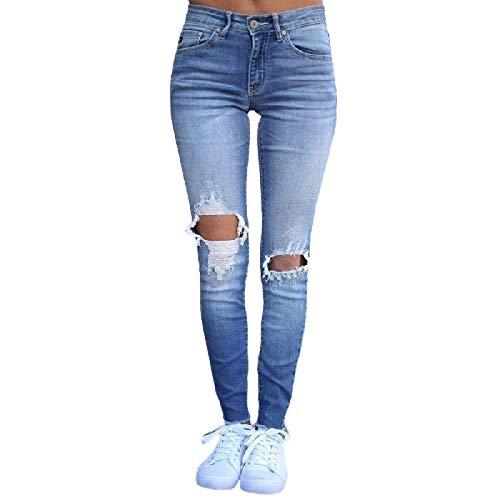 Luandge Pantalones Vaqueros Rasgados de Cintura Alta para Mujer Pantalones de Mezclilla Ajustados Lavados a la Moda Streetwear Europeos y Americanos M