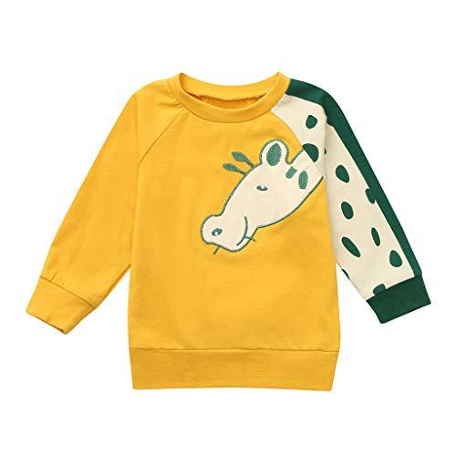 MRULIC Mädchen T-Shirt Baby Schlupfhemd by Wollbody Spezial Qualität 45% Baumwolle Baby-Mädchen Langarmshirt Kleiner Junge Langarmshirt Pullover(Gelb,Höhe:85-90CM)