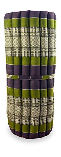 livasia Kapok Rollmatte in 190cm x 75cm x 4,5cm der Marke Asia Wohnstudio; Liegematte BZW. Yogamatte, Thaikissen, Thaimatte als asiatische Rollmatratze (braun/grün)