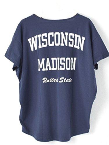 tシャツ レディース 半袖 トップス カットソー 英字プリント ラウンドネック ゆったり オーバーサイズ 綿シャツ オフ/ブラック/ネイビー …