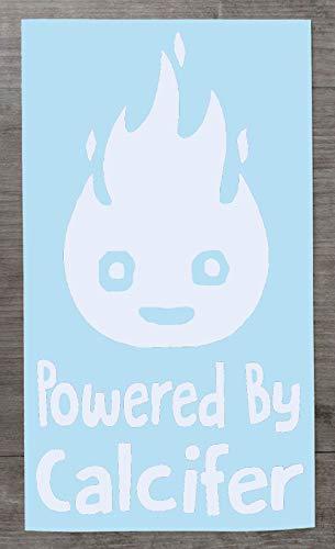 Studio Ghibli Inspired Powered by Calcifer Vinyl-Aufkleber – lustiger Aufkleber für Autos und Laptops – HSS214, Vinyl, weiß, Small - 10cm x 6cm