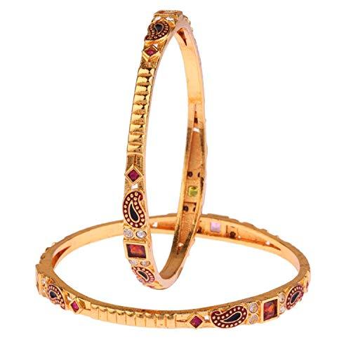 Efulgenz Indische Bollywood Antiker traditioneller 14 K Gold plattiert Kundan Strass Hochzeit Brautarmband Armreif Set Schmuck (2 Stück)