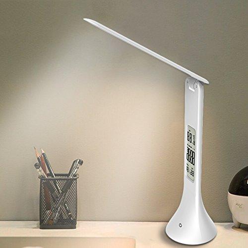 Lámpara de escritorio, XIAOKOA LED Dimming Touch Light, Lámpara de oficina con pantalla LCD, Luz de textura de cuero creativa con reloj despertador y...