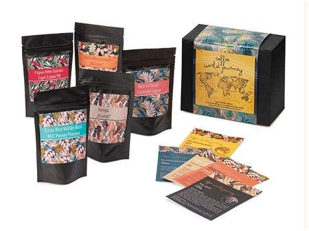 Geschenkbox Coffee World Journey 5 Tüten à 70 g geröstete Kaffeebohnen inkl. 5 Produktkarten