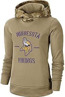 Dunbrooke Apparel Women's Minnesota Vikings Khaki 2019 Salute to Service Therma Pullover Hoodie