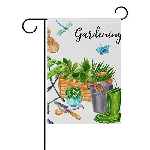 Cartel de jardín con diseño de acuarela BIT para decoración de patio de doble cara, 4 estaciones de terraza, 12,5 x 45,7 cm