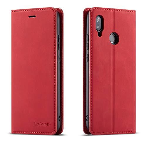 QLTYPRI Hülle für Huawei P20 Lite, Premium Dünne Ledertasche Handyhülle mit Kartenfach Ständer Flip Schutzhülle Kompatibel mit Huawei P20 Lite - Rot