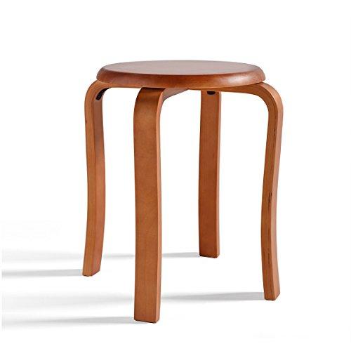Repose-pieds Cuisine Chaise de salle à manger ronde en bois Tabouret en chêne à manger de ménage empilables 4 pieds anti-poussière Dress Dress Stool Maquillage Accessoires de meubles de salon en brun