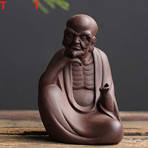 Accessoires pour service à thé Les figurines pour animaux de compagnie de thé Zisha peuvent prendre en charge la sculpture de l'ancêtre du Dharma, jou