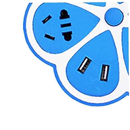 Multifuncional del zócalo de energía en forma de limón sobretensiones Protegida Regleta con 4 puertos USB cable 4 Extensión Internacional Jacks para Office Home 1,8 metros azules durables Life Tools