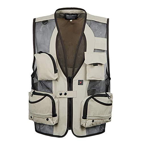 DogensHonz Chaleco de Malla Transpirable Delgado de Verano para Hombres más tamaño Casual Multi Pocket Chaleco Khaki Vest 5XL