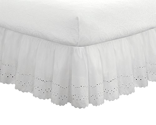 Fresh Ideas Bedding Eyelet Ruffled Bedskirt Extra Long 18'...