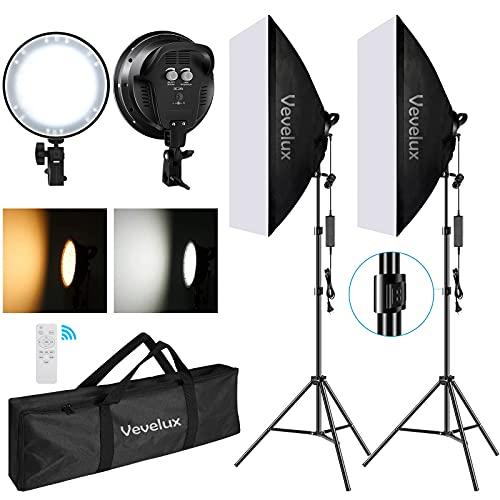 Vevelux Softbox LED 48W Kit Iluminación Fotografía, con 2 Softbox 50x70cm de 3000K-5500K Temperatura Regulable y Luz Continua para Fotos, Retratos, Filmación, Estudio Fotográfico