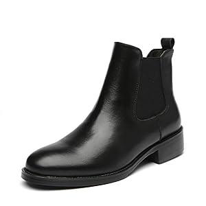 [Placck] 本革 レディースショートブーツ 黒 チェルシーブーツ 大きいサイズ 防水 hei40