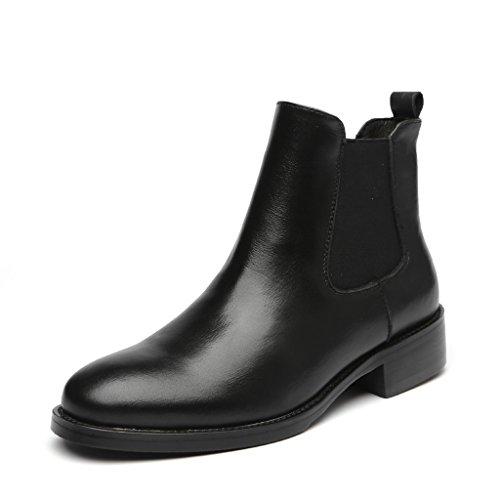 [Placck] 本革 レディースショートブーツ 黒 チェルシーブーツ 大きいサイズ 防水 hei38