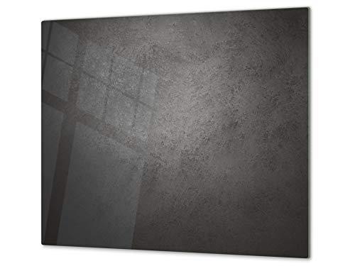 Tabla de cortar decorativa de cristal templado y cubre vitro – Dos en Uno – Resistente a golpes y arañazos – UNA PIEZA (60 x 52 cm) o DOS PIEZAS (30 x 52 cm); D10A Serie Texturas B Concreto Oscuro
