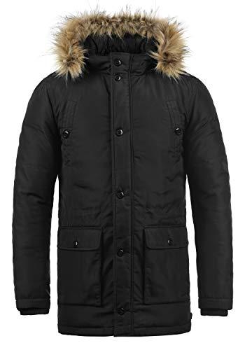 Blend Rene Herren Winter Jacke Parka Mantel Winterjacke gefüttert mit Kunst-Fellkapuze, Größe:L, Farbe:Black (70155)
