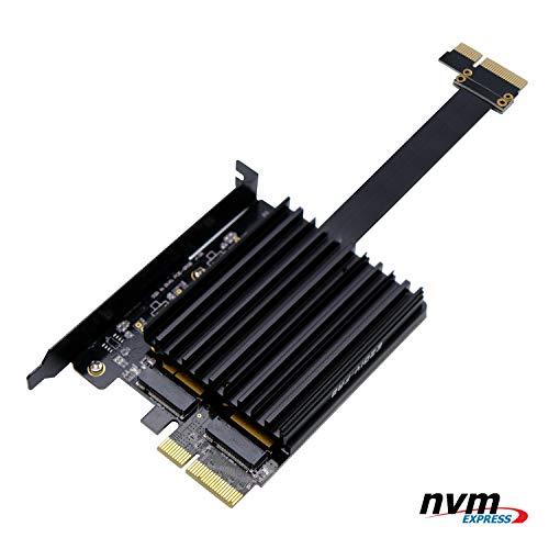 EZDIY-FAB Dual M.2 PCIE-Adapter, M.2 PCIe NVMe und PCIe AHCI SSD zu PCIe 3.0 x4, unterstützt Zwei NVME M.2 SSDs