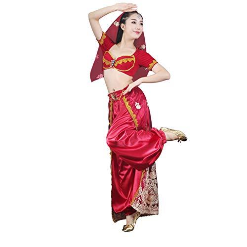 MEIGUI Disfraz De Danza del Vientre 4 PCS Indian Aladdin Princess Jasmine Theme Dance Stage Rendimiento Vestido L