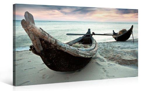 PICANOVA Boote 100x50cm – Premium Leinwanddruck – Kunstdruck Auf 2cm Holz-Keilrahmen Für Schlaf-Und Wohnzimmer Druck Auf Leinwand, mehrfarbig