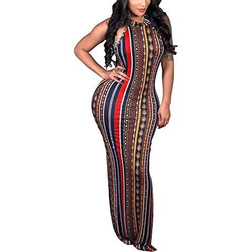 ECHOINE Womens Bohemian Printed Sleeveless Bodycon Ladies Outfits Maxi Dress Summer Style