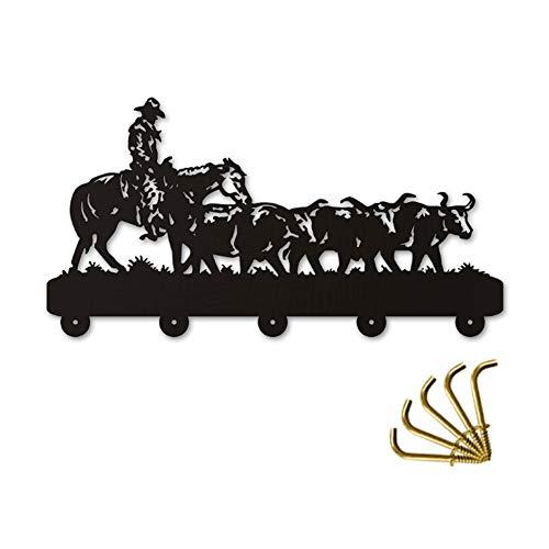 ANMY Cool American Cowboy Holz Kleiderbügel einzigartiges Geschenk Kleidung Hut Schlüssel Haken/Kleiderständer/Wandhaken Dekoration Wandaufkleber Küche Bad Handtuch Haken, schwarz