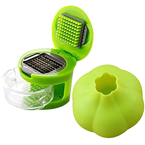 Condello Casa Kitchen Food Aid Garlic Ginger Master Box Plastic Stainless Steel Press Cutter Mincer Chopper Crusher Slicer Grater Grinder Twister Dicer Machine Silicone Peeler Gadget Green Tool Set