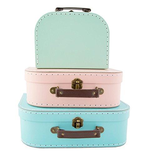 Set de 3 cajas con diseño de maleta vintage en colores pastel: verde, rosa y azul