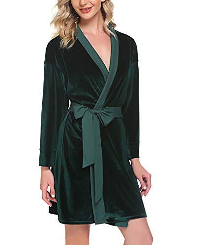 Unibelle Kimono Robe Damen Long Bademantel Flanell Leichter Bademantel für Brautjungfern Kurze Nachtwäsche V Ausschnitt DG_XL