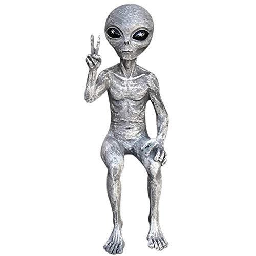 OEIGCI Alien Garden Statue,Kunst Weltraum Außerirdische Statuen Figur Peace Dude Shelf Sitters Statue Home Outdoor Dekoration Figuren Stakes,Grüße Erdlinge UFO Alien Statue,Kleinsitzend,Sandstein (A)