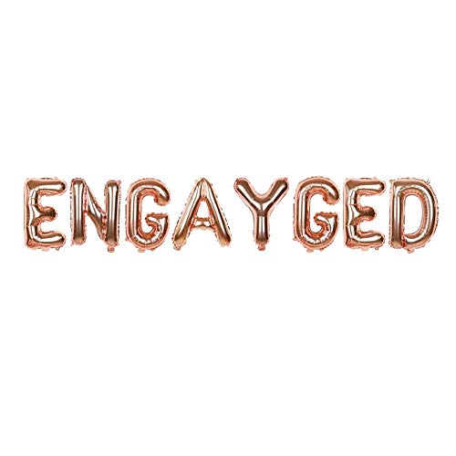 Engagement Letter Balloon Banner, Air-Filled Engayged Banner Phrase for Gay Lesbian Engagement Party Supplies, LGBTQ Pride Wedding Shower Bachelor Bachelorette Party Decor, 13'', Rose Gold