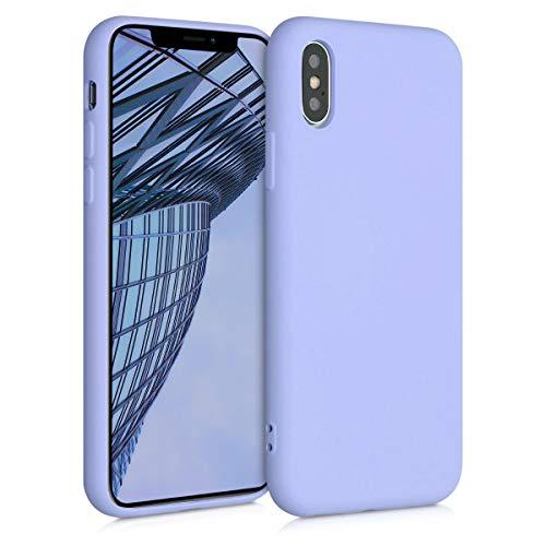 kwmobile Cover Compatibile con Apple iPhone XS - Custodia in Silicone Effetto Gommato - Back Case Protezione Cellulare - Lavanda Pastello
