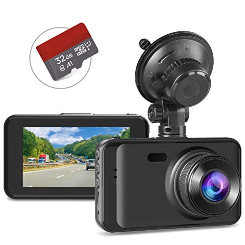 "Dash Cam with SD Card Included FHD 1080P Dash Cams for Cars Dash Cameras Record Dash Cam with Night Vision, 170°Wide Angle 3""IPS Screen Dashcam Loop Recording G-sensor Motion Detection Parking Monitor"