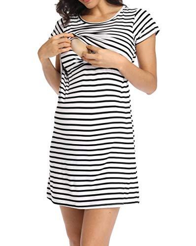 Ritera Umstandsnachthemd/Still-Nachthemd Kurzarm Streifen mit Knopfleiste für Schwangere Frauen Sommer, Schwarz,M
