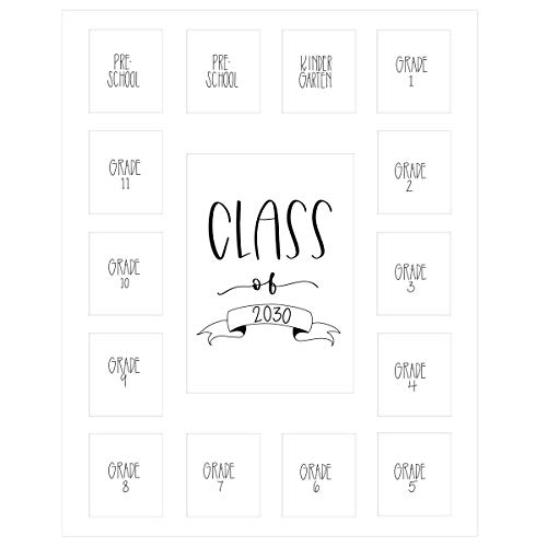Rustic Red Door Co. School Years Picture Mat with 15 Openings – 11x14 School Days Photo Collage - No Frame – 2 Pre-School & Kindergarten to 12th Grade High School Graduation (Class of 2030, White)