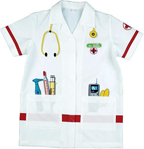 Theo Klein 4614 Bata de médico, Disfraz de alta calidad, Medidas: alrededor de 55 cm de largo, Juguete para niños desde 3 hasta aprox, 6 años