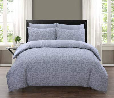 Cotton Club 100% Pure Cotton Reversible Duvet Cover set Printed (ISTAMBUL SILVER, KING)
