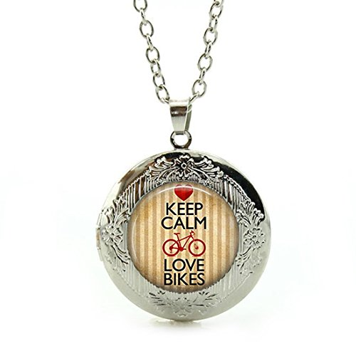Women's Custom Locket Closure Pendant Necklace Keep Calm and Love Bikes Bicycle Included Free Silver Chain, Best Gift Set