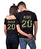 Daisy for U 2020 Neu T-Shirts Hoodie King Queen Shirts 1 Stücke-Schwarz-Camouflage-King-L(Herren)