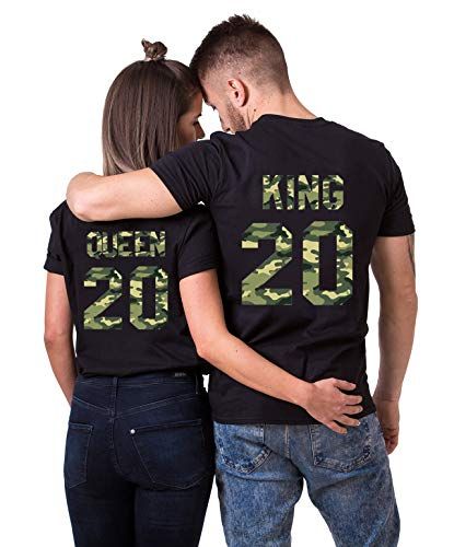 Daisy for U 2020 Neu T-Shirts Hoodie King Queen Shirts 1 Stücke-Schwarz-Camouflage-King-M(Herren)