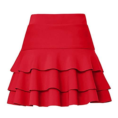 YAYAKI Rock Damen Basic Solid Vielseitige Dehnbaren Informell Mini Skater Dress Gummiband Hohe Taille Konservativ A-Linienrock Karneval Abschlussjahreszeit Freizeit Rockhose (Rot-1,2XL)